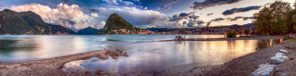 Lake Lugano - Lago di Lugano, Switzerland - Panoramic HDR