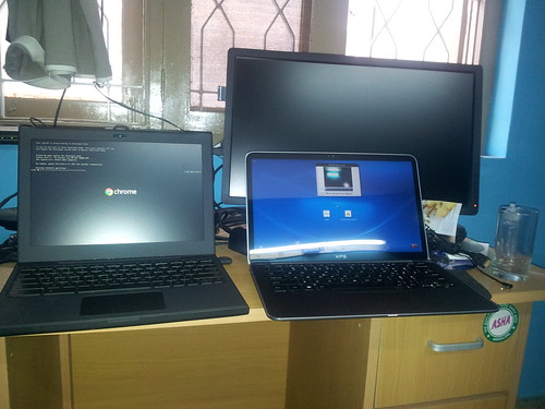 Brought my Cr-48 Chrome book back to Bangalore this time. Next to it is the Dell XPS13 | by SathyaBhat