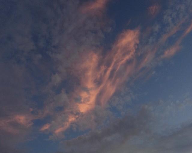 Altocumulus (grey) + cirrus (red) clouds