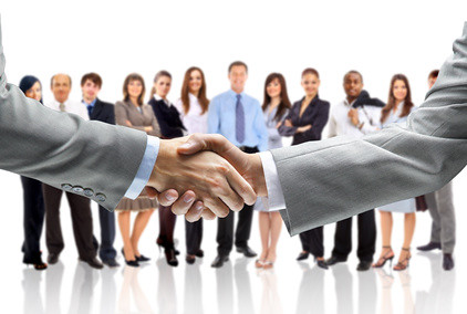 handshake isolated on business background | by SalFalko