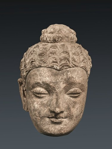 Buddha Head, Gandhara, C. 2nd century. Stucco. From goolge.com