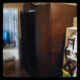 What's wrong with a little destruction? Old soviet wardrobe ready to leave this life. Before, #kuzzzmahomesweethome
