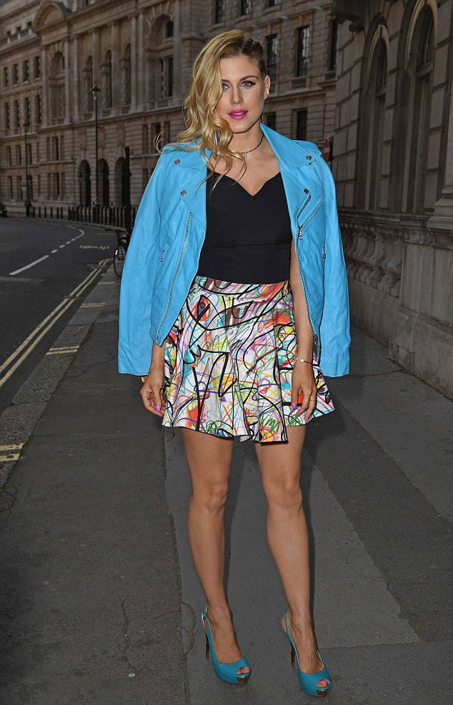 Ashley-James-in-mint-blue-biker-jacket-with-a-printed-skater-skirt-and-top