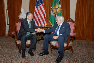 Dr. Jim Yong Kim meeting with former World Bank President James Wolfensohn | by U.S. Department of the Treasury