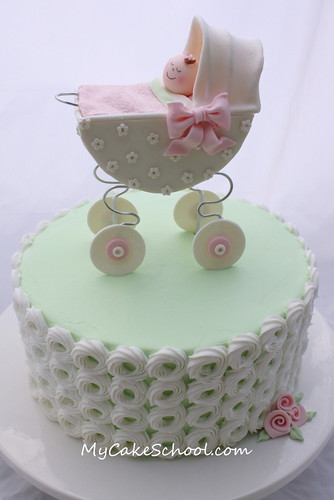 Baby Carriage Cake | by Mycakeschool.com