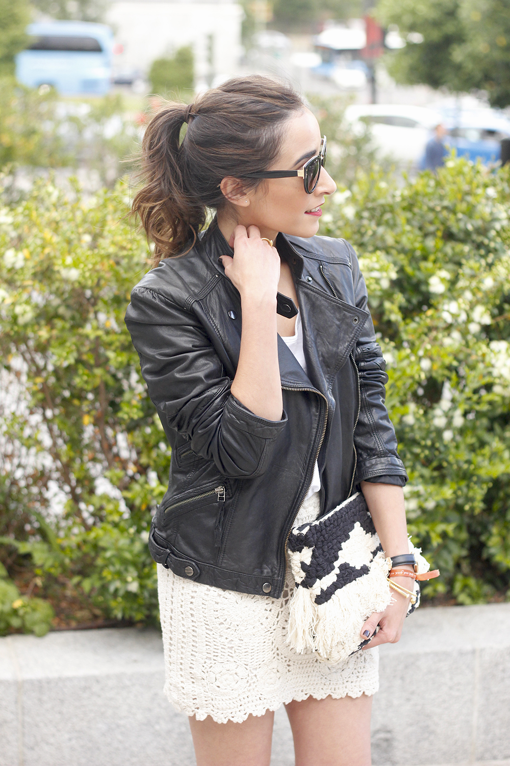 crochet skirt leather jacket black heels sunnies spring outfit style19