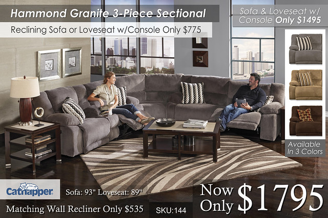 Hammond Graphite 3 piece Sectional
