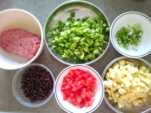 ingredients for Southwest Beef Lasagna