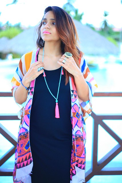 Maxi - Target  Kimono - Anthropologie Flats - From India Necklace - From travels Boho Travel Style Tanvii.com