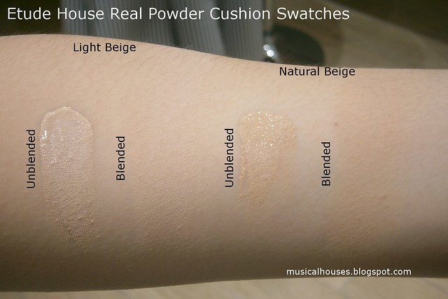 Etude House Real Powder Cushion Swatches Review Light Beige Natural Beige
