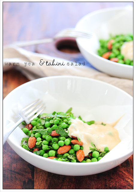 warm pea & tahini salad