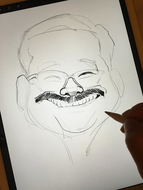 Digital caricature sketch of 黃玉郎 on iPad Pro + Apple Pencil in Procreate.