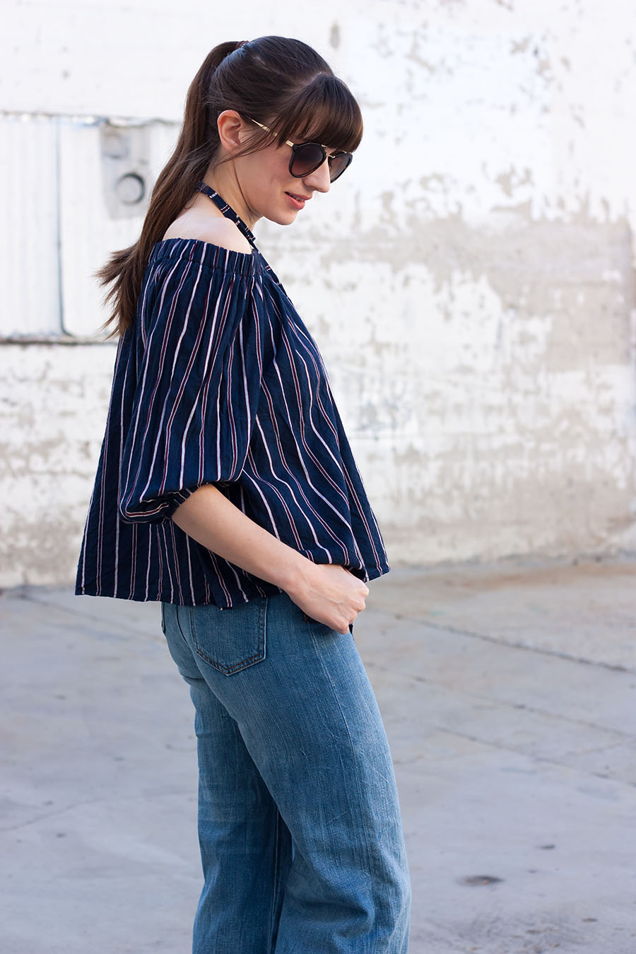 Navy Striped OTS Top, Wide Leg Denim, Summer Style