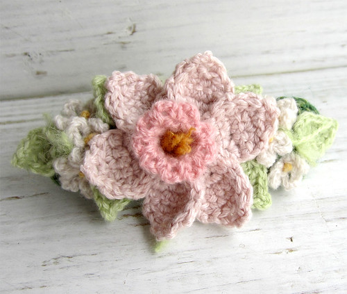 Crochet Hair Barrette Pink Daffodil with White Flowers | by meekssandygirl
