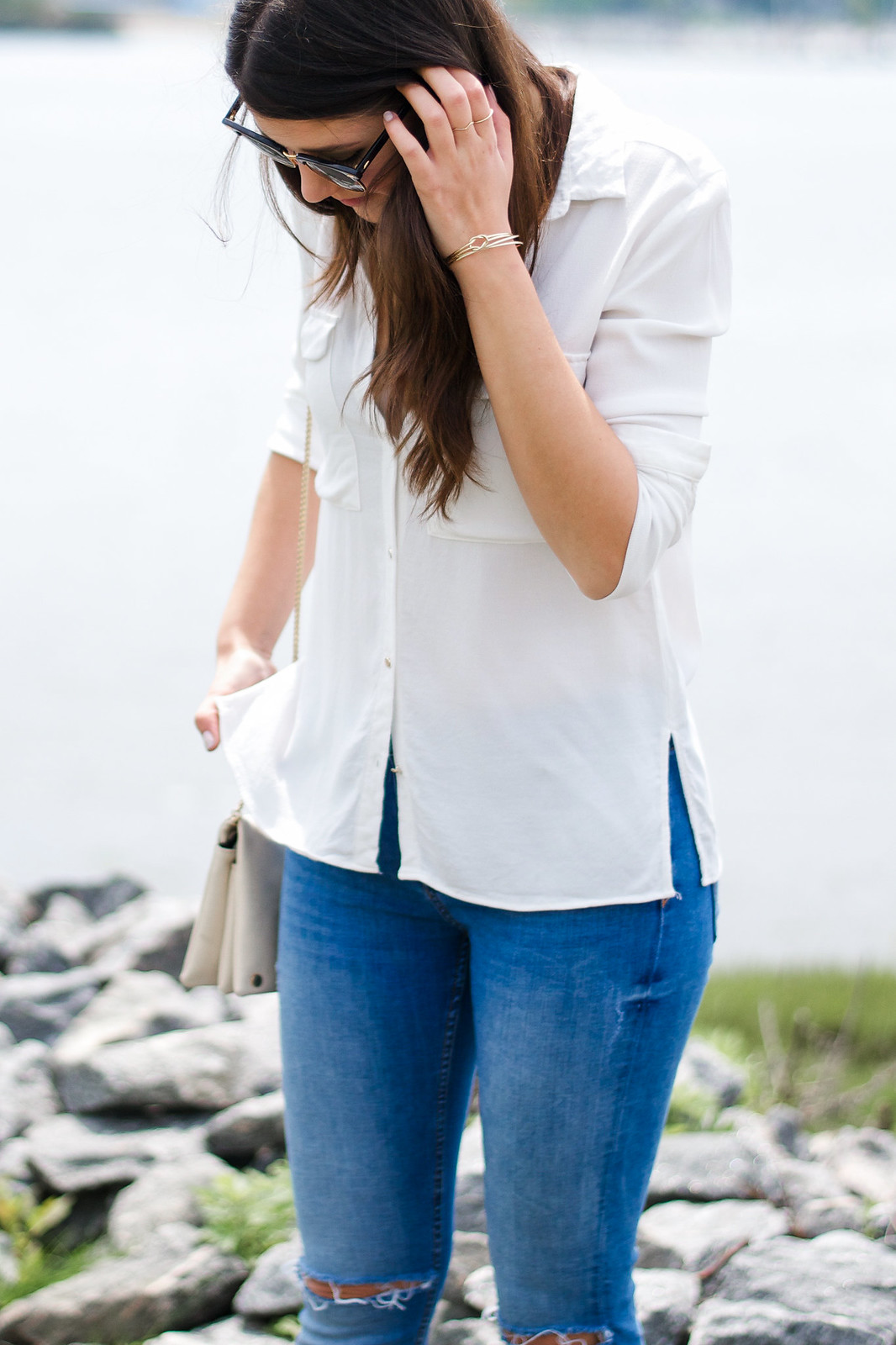 Zara White Blouse Outfit