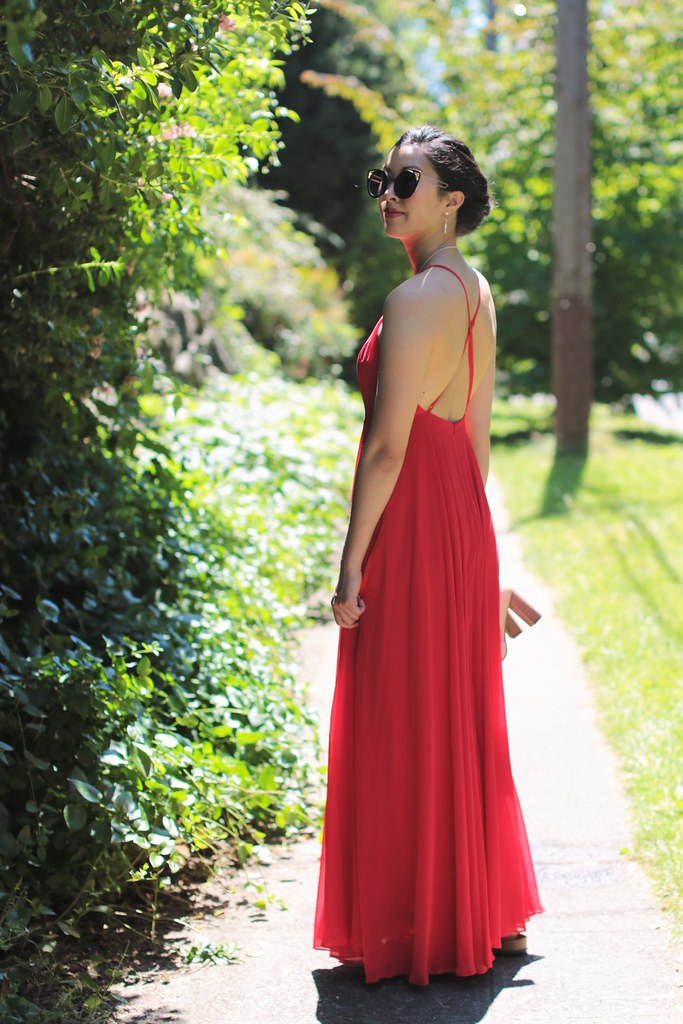Wedding guest dress: lulu's red maxi backless dress