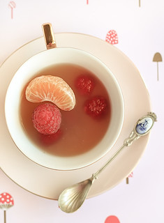 Mandarin & Jasmine Tea Cup Jellies with Raspberries | by raspberri cupcakes
