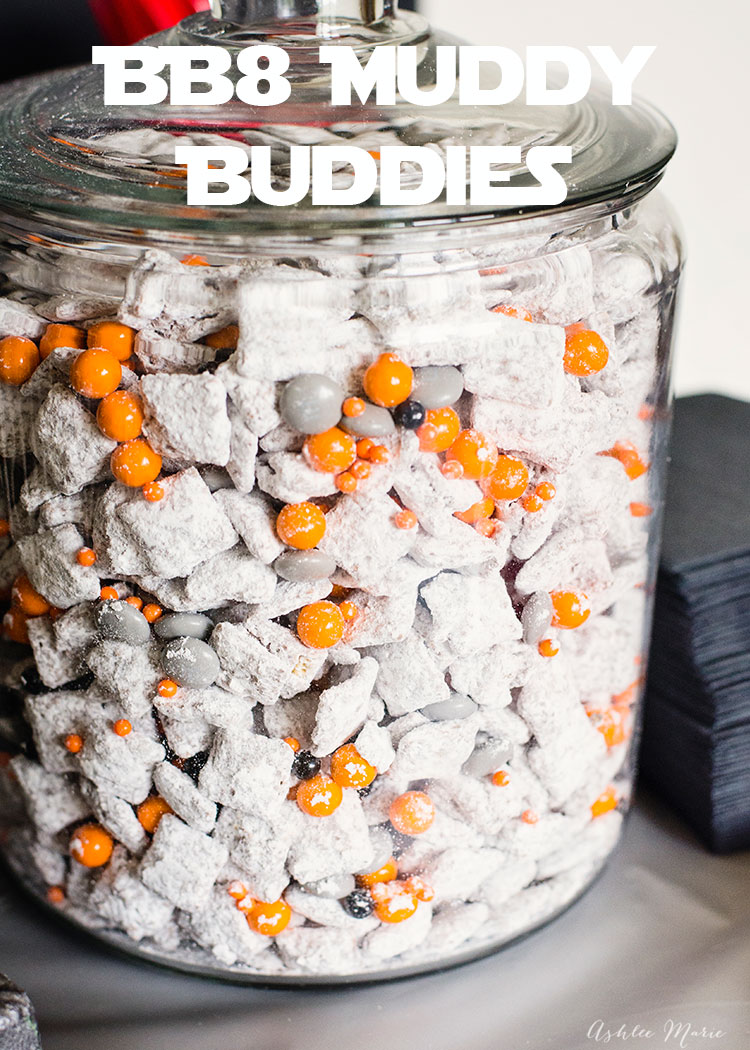 everyone loves muddy buddies - and they are so easy to personalize for any theme, like these fun star wars BB8 muddy buddies!