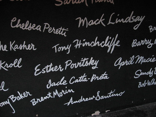 painted names on a chalkboard, 2012