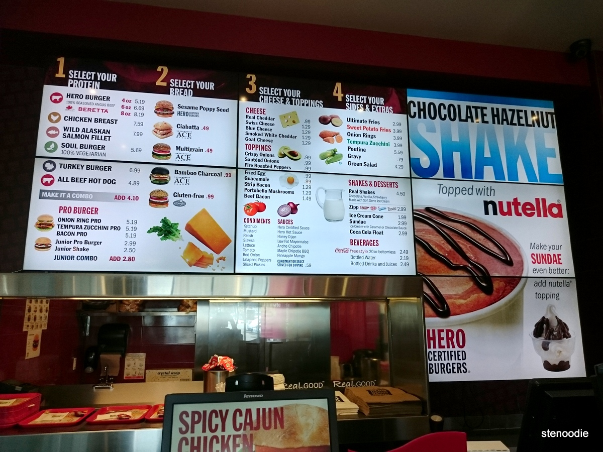 Hero Certified Burgers menu