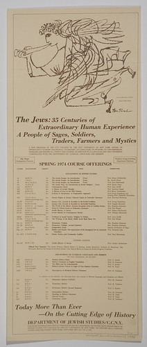 Poster [2012.0.5]: The Jews: 35 Centuries of Extraordinary Human Experience… Spring 1974 Course Offerings [of the] Department of Jewish Studies, CCNY (New York, USA, 1974) | by MagnesMuseum
