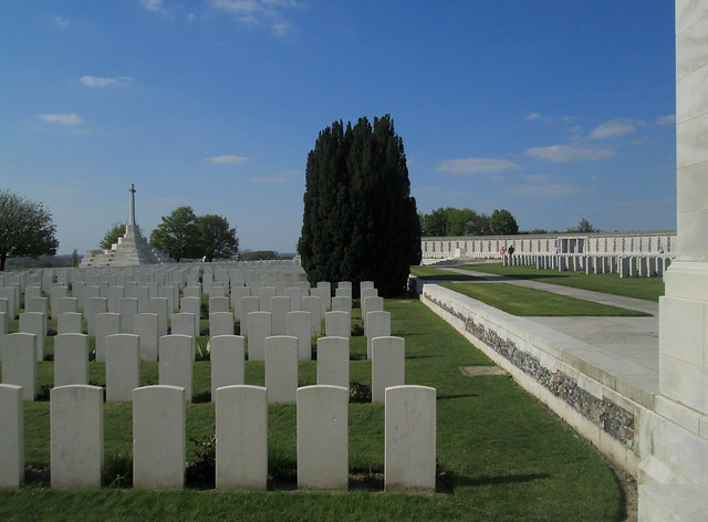 Tyne Cot Cemetery, Memorial Wall, Graves and Cross