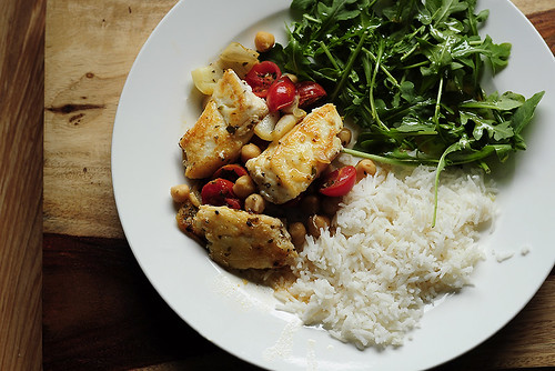 Greek-Style Halibut with Arugula Salad and Rice | by julianna smith