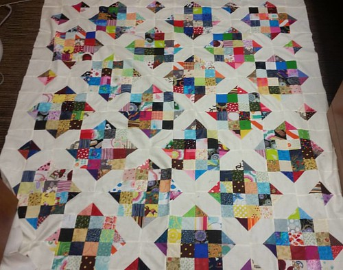 Last night I finished my Goodnight Irene quilt top made from scraps. (Mom's rolling over in her grave I'm sure!)