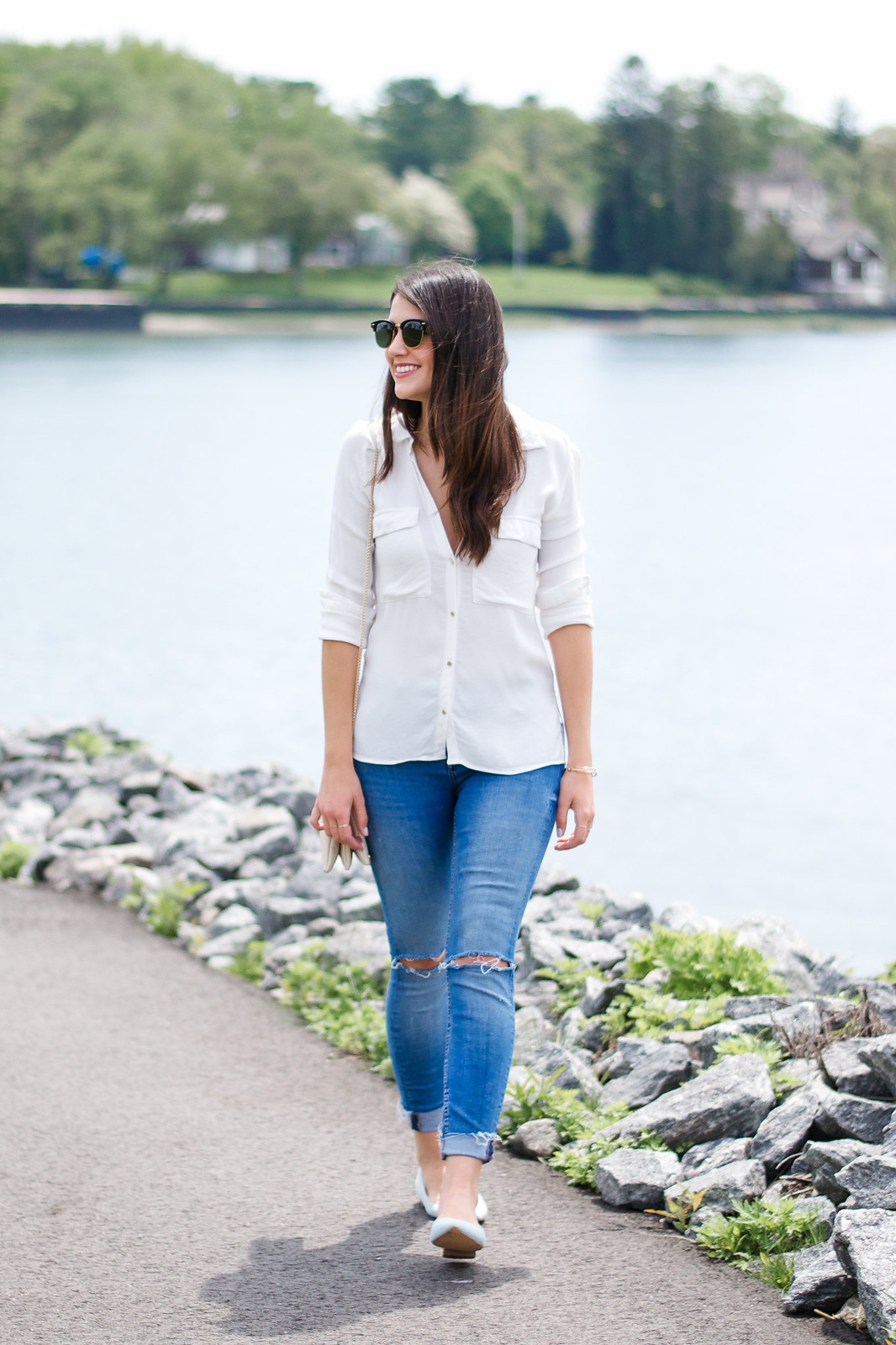 White Blouse Ripped Denim Blogger Style
