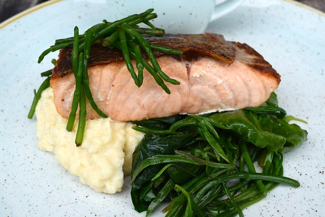 Pan Fried Salmon with Sea Vegetables, Samphire & Crushed Celeriac with Gin Mare Butter Sauce at Rocksalt | www.rachelphipps.com @rachelphipps