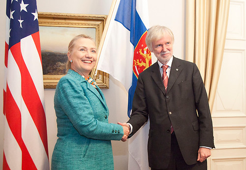 Secretary of State Hillary Clinton of the United States and Minister for Foreign Affairs Erkki Tuomioja, Finland