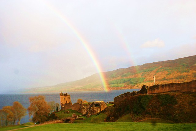 Rainbow over Loch Ness. Viewed from Castle Urquhart.