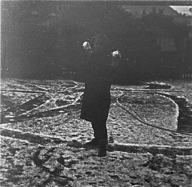 Paul Weaver & hailstones, Attadale c 1953