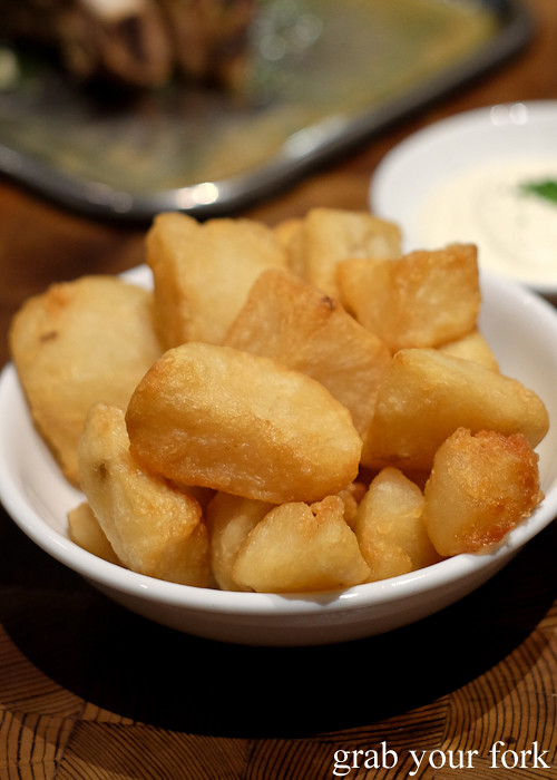 Dripping roast potatoes at Mercado restaurant, Sydney