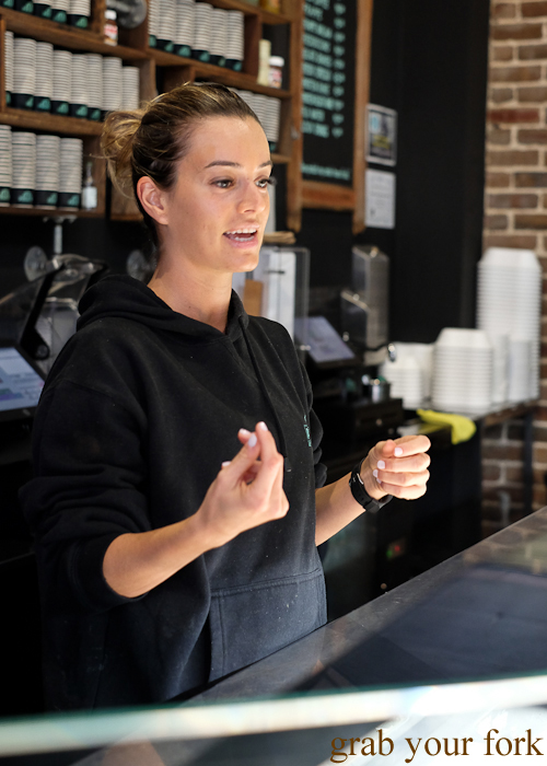 Katerina Magoulias, co-owner of Pagoto Gelato and Waffle House during the Community Kouzina Marrickville Food Tour for Open Marrickville