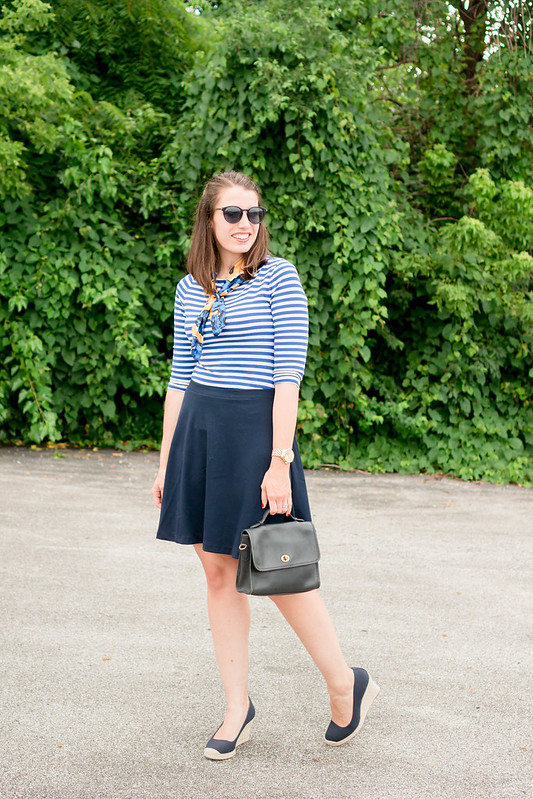 blue + white stripe tee + floral print scarf + navy skirt + J.Crew navy espadrilles + summer work outfit | Style On Target blog
