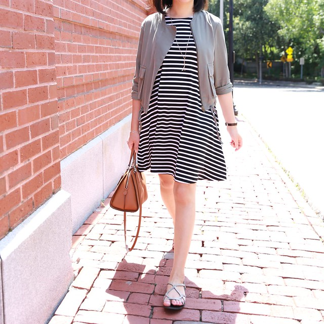 LOFT Striped Swing Dress