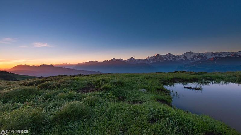 Sunrise at Eiger, Mönch and Jungfrau - Niederhorn