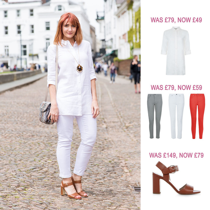 Summer Sales Picks SS16 - Hobbs longline white shirt, skinny jeans, tan strappy sandals | Not Dressed As Lamb