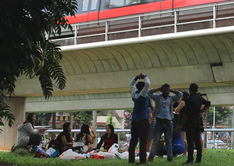 Picnic under the tracks, near Redhill station, Singapore