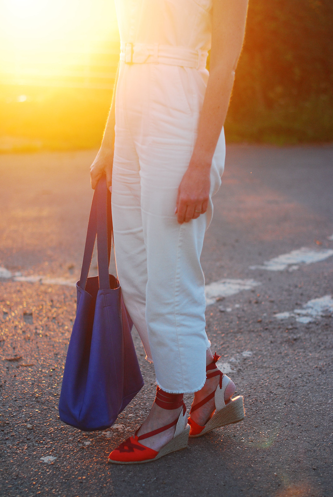 Sleeveless summer overalls: Red, white and blue outfit - red wedge espadrilles, white dungarees, blue slouchy bag | Not Dressed As Lamb