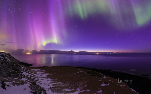 Aurora borealis over the coast of Iceland