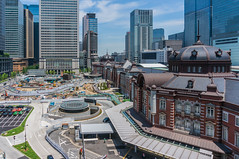 Tokyo Station Marunouchi opening in pavement construction implementation