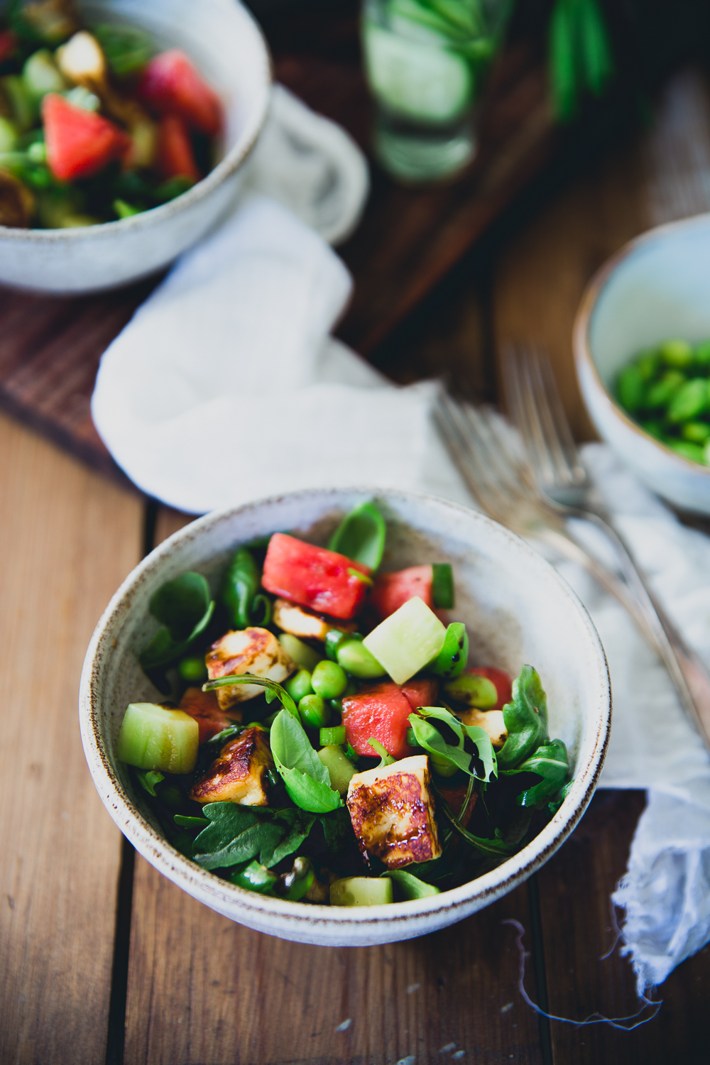 Watermelon & Halloumi Salad with Edamame | Cashew Kitchen