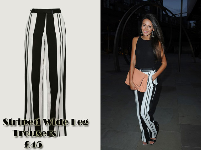 Topshop-Striped-Wide-Leg-Trousers,Striped Wide Leg Trousers, Topshop Striped Wide Leg Trousers, wide leg pants, wide leg trousers, striped pants, striped trousers, monochrome look, monochrome outfit, Michelle Keegan, pastel pink large clutch, hoop earrings, black shell top, black top