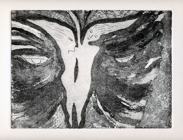 A black and white etching of Gemini, the twins as a butterfly