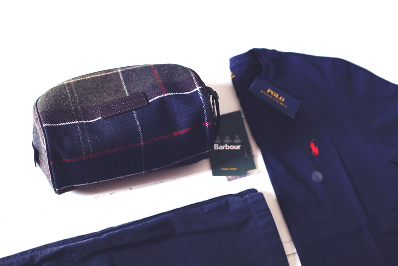 Barbour washbag and Ralph Lauren t-shirt