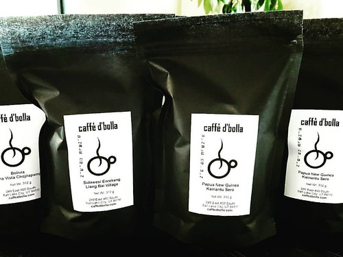 Fresh roasted and bagged for you! Awesome Single Origin coffees from Sulawesi, Bolivia, and Papua New Guinea. Come get 'em! #caffedbolla #singleorigin #coffeebeans #slc #coffee #roaster #coffeeroaster