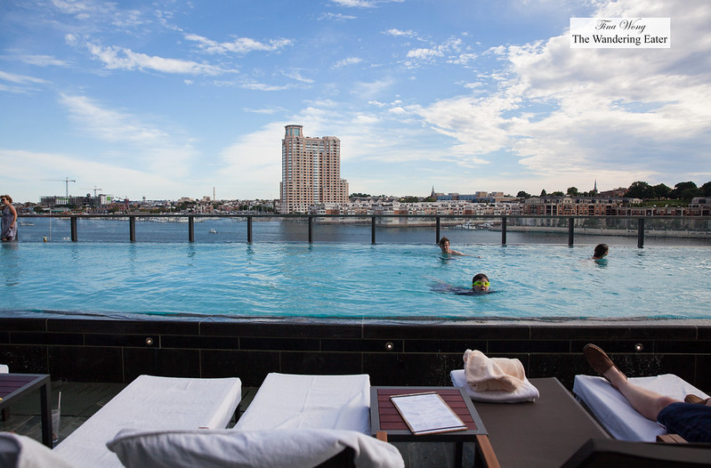 Infinity pool with a view of East Harbour