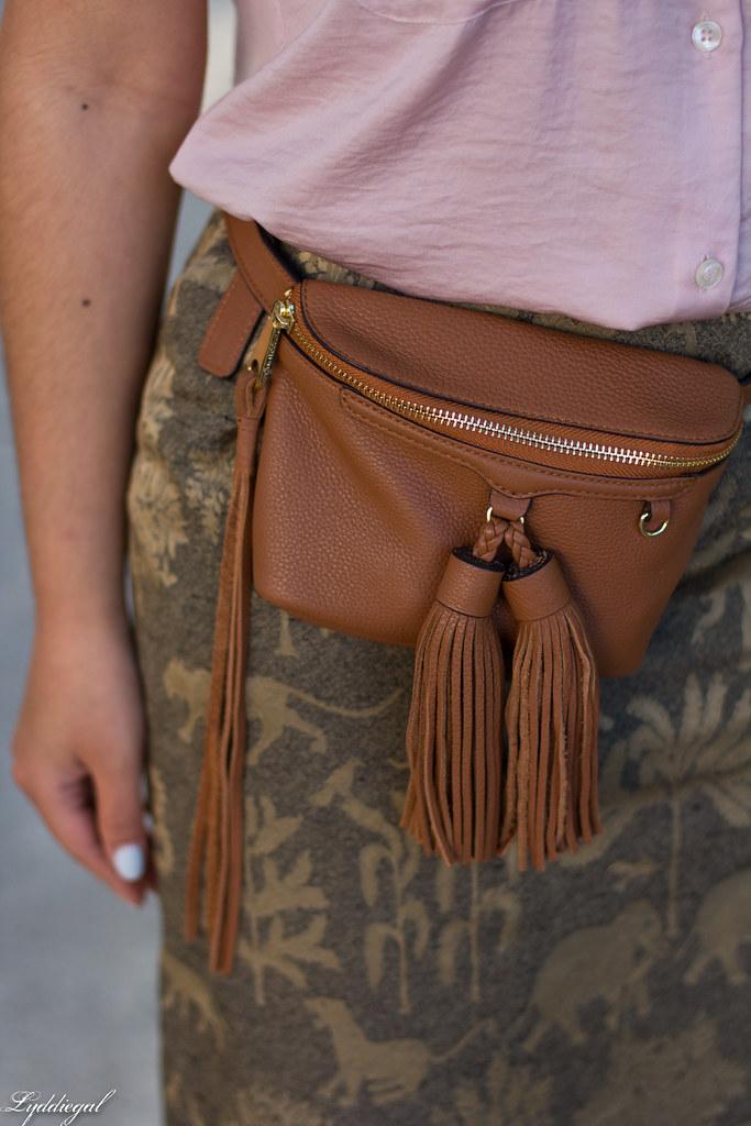elephant print skirt, pink blouse, tassel waist bag.jpg